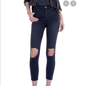 FREE PEOPLE High Rise Busted Knee Skinny Jeans NWT